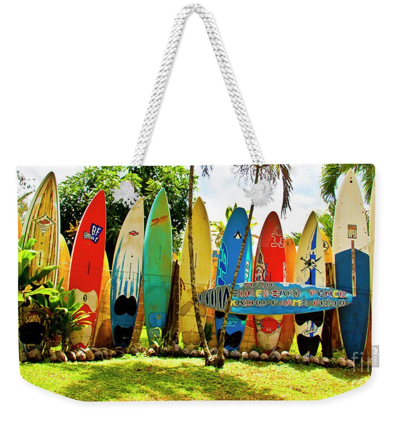 Surfboard Weekender Tote Bag featuring the photograph Surfboard Fence II-the Amazing Race by Jim Cazel
