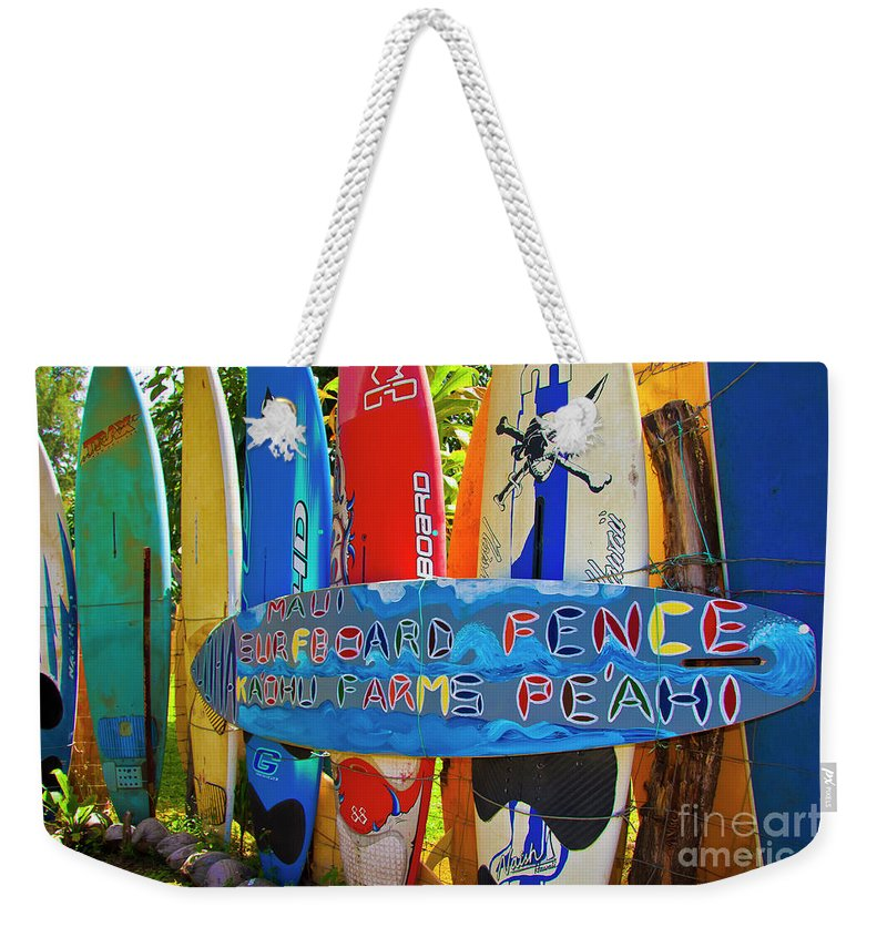 Surfboards Weekender Tote Bag featuring the photograph Surfboard Fence-the Amazing Race by Jim Cazel