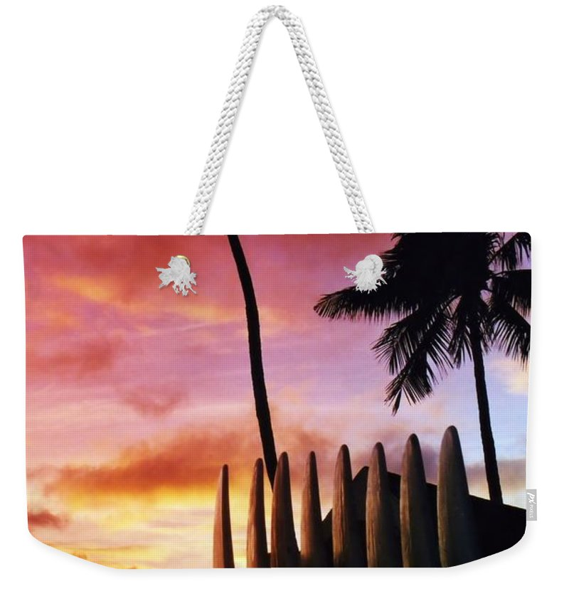 Hawaii Weekender Tote Bag featuring the photograph Surfboard Sunset by DJ Florek