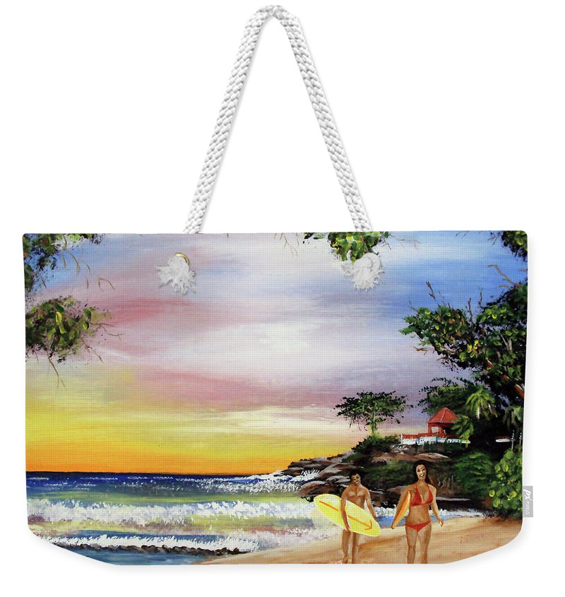Surfing Weekender Tote Bag featuring the painting Surfing In Rincon by Luis F Rodriguez