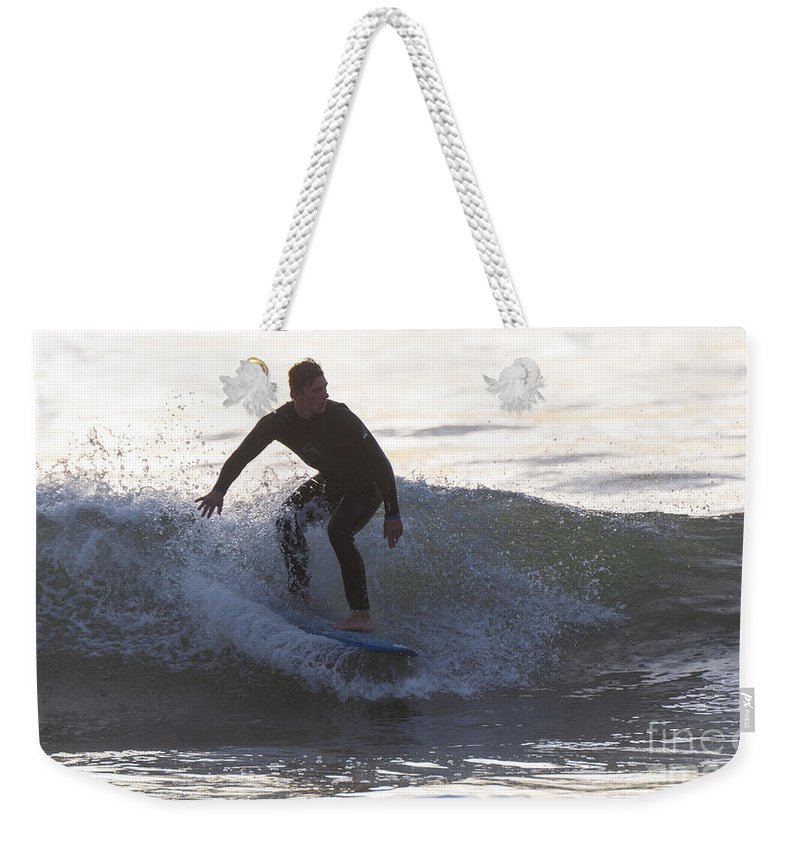Natanson Weekender Tote Bag featuring the photograph Surfing Narragansett by Steven Natanson