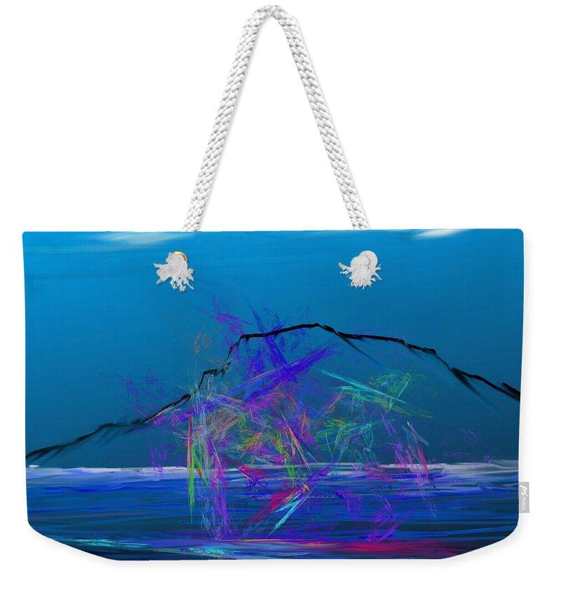 Fine Art Weekender Tote Bag featuring the digital art Surfs Up by David Lane