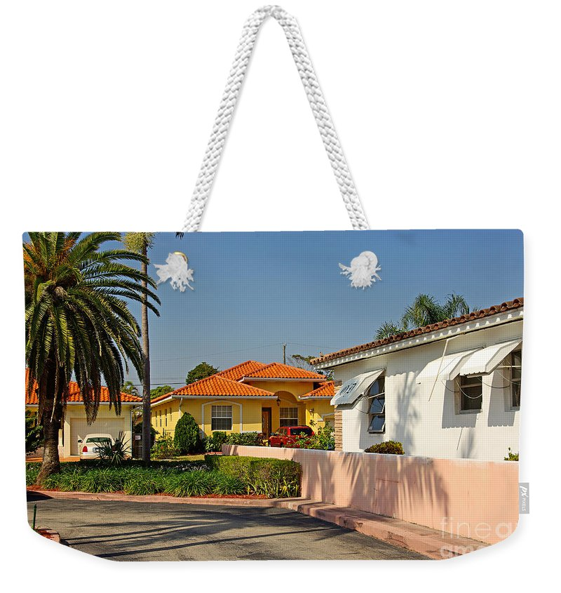 Florida Weekender Tote Bag featuring the photograph Surfside Neighborhood In Miami Beach by Zal Latzkovich
