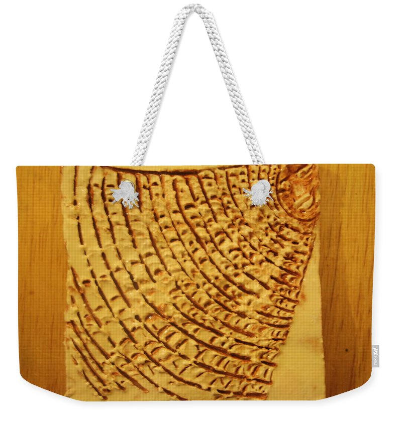 Jesus Weekender Tote Bag featuring the ceramic art Surprise - Tile by Gloria Ssali