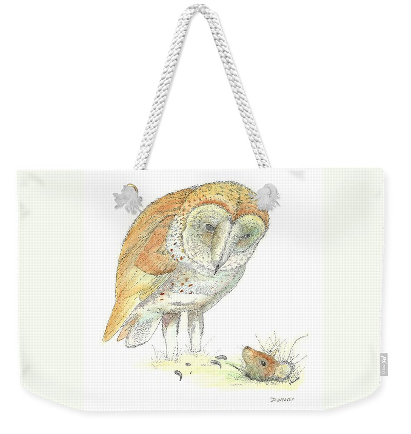 Owl Standing Over Field Mouse Weekender Tote Bag featuring the drawing Surprise by David Weaver