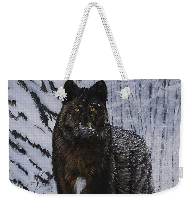 Wildlife Weekender Tote Bag featuring the painting Surprise Encounter by Johanna Lerwick