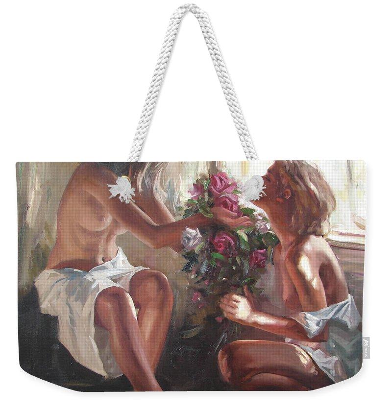 Ignatenko Weekender Tote Bag featuring the painting Surprise by Sergey Ignatenko