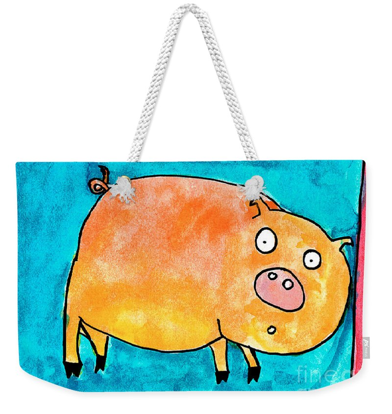 Pig Weekender Tote Bag featuring the painting Surprised Pig by Nick Abrams Age Thirteen