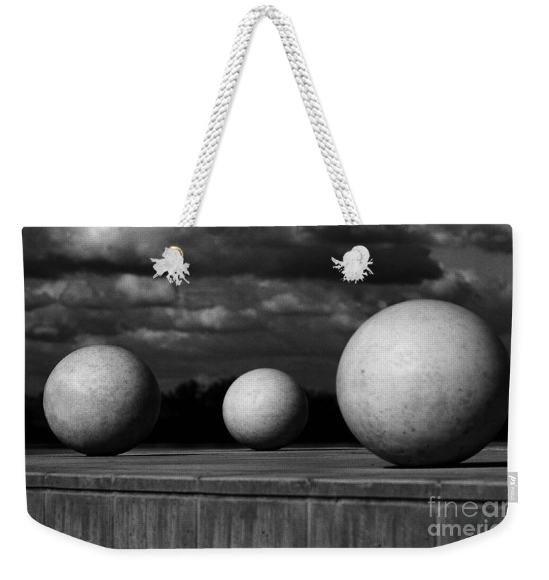 Black And White Weekender Tote Bag featuring the photograph Surreal Globes by Peter Piatt