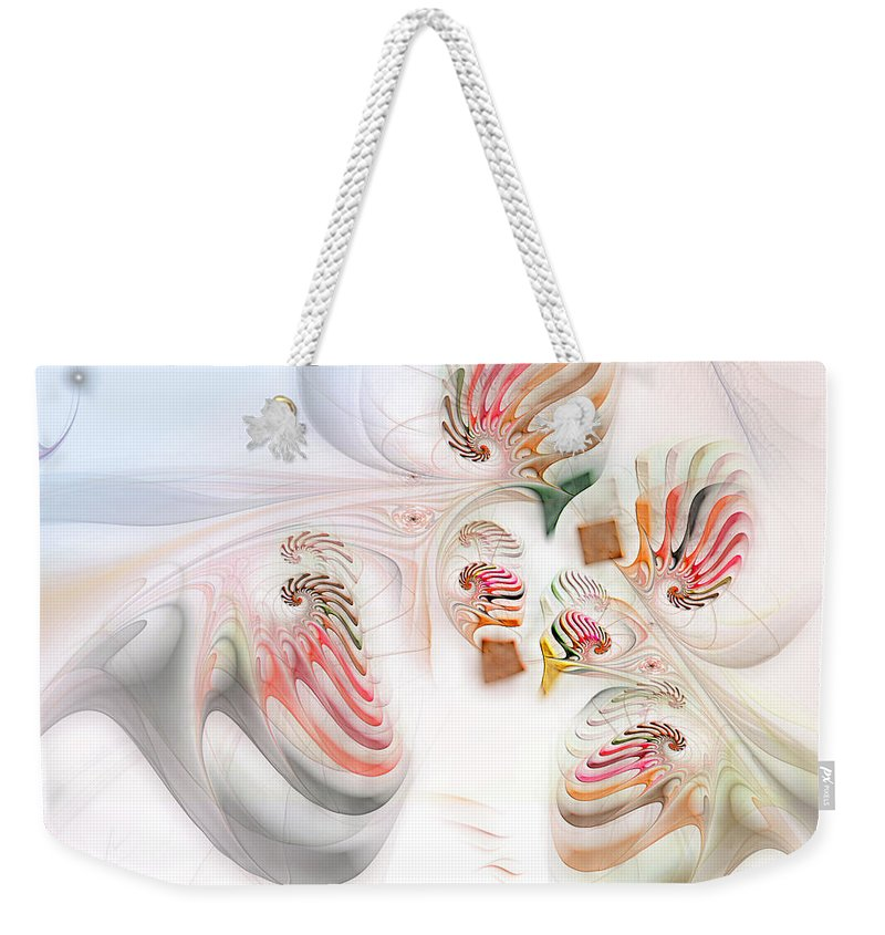 Abstract Weekender Tote Bag featuring the digital art Surrealism Examined by Casey Kotas