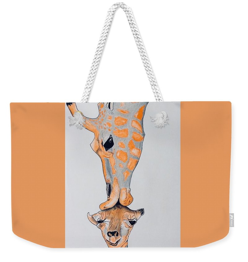 Nature Surrealist Giraffe And Baby Colorful Weekender Tote Bag featuring the pastel Surrealist Mother And Baby Giraffe by Graham Wallwork