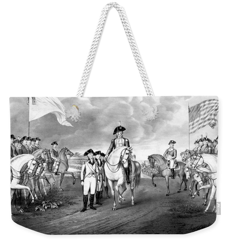 George Washington Weekender Tote Bag featuring the mixed media Surrender Of Lord Cornwallis At Yorktown by War Is Hell Store
