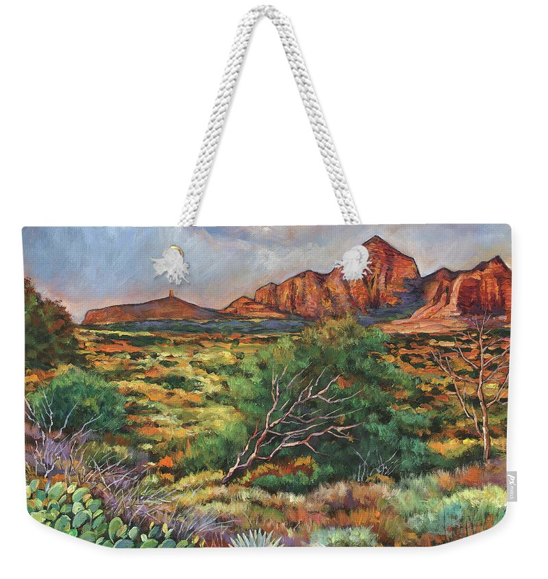 Arizona Desert Weekender Tote Bag featuring the painting Surrounded by Sedona by Johnathan Harris