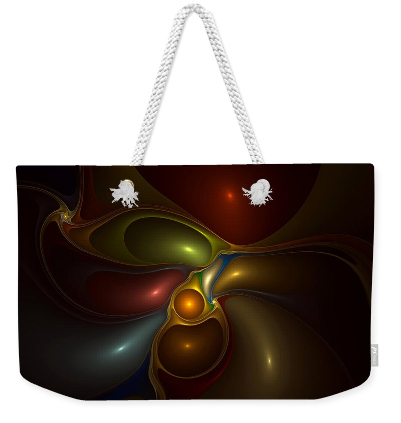Abstract Weekender Tote Bag featuring the digital art Surrounded by Casey Kotas