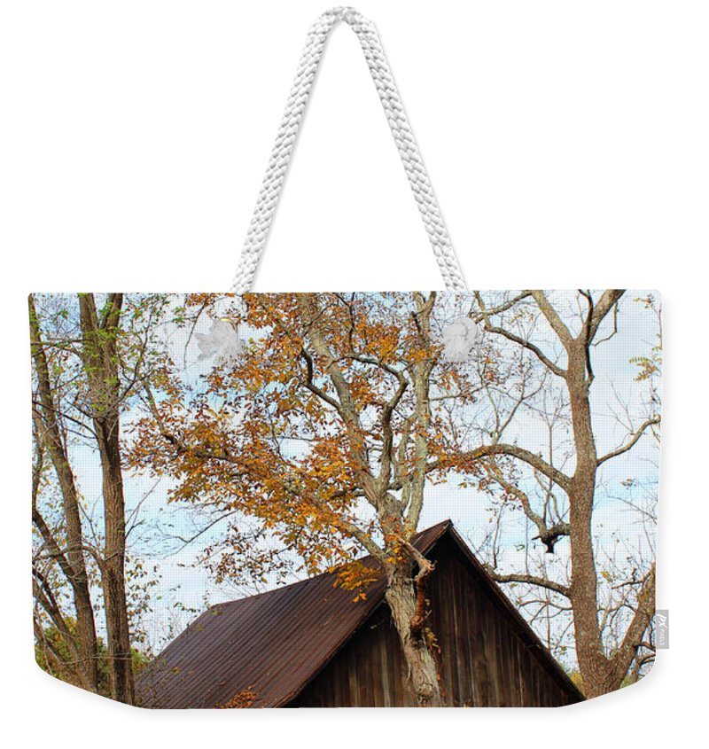 Old Barn Weekender Tote Bag featuring the photograph Surrounded by Lorraine Baum