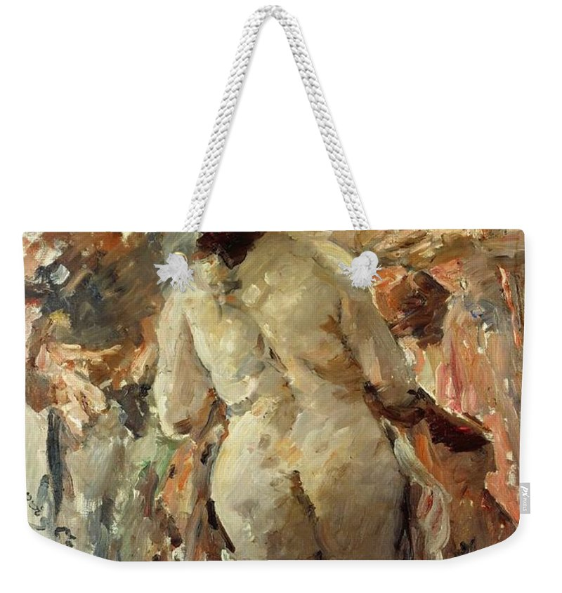 Painting Weekender Tote Bag featuring the painting Susanna And The Elders by Mountain Dreams