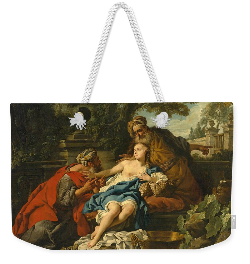 Studio Of Jean-francois Detroy Weekender Tote Bag featuring the painting Susanna And The Elders by Studio of Jean-Francois Detroy
