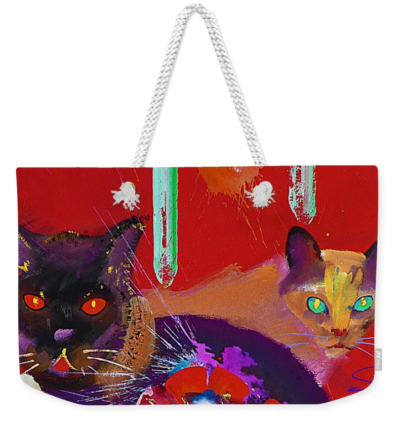 Cat Weekender Tote Bag featuring the painting Suspicious Minds by Charles Stuart
