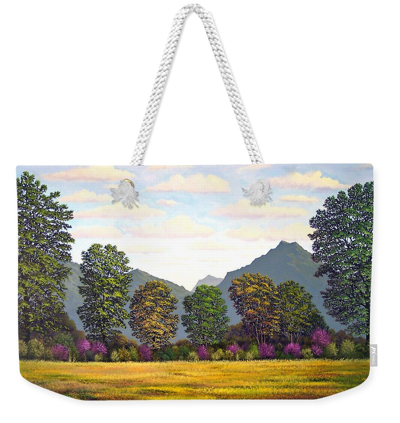 Mountains Weekender Tote Bag featuring the painting Sutter Buttes In Springtime by Frank Wilson