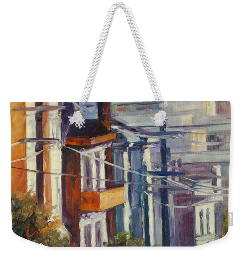 Cityscape Weekender Tote Bag featuring the painting Post Street by Rick Nederlof