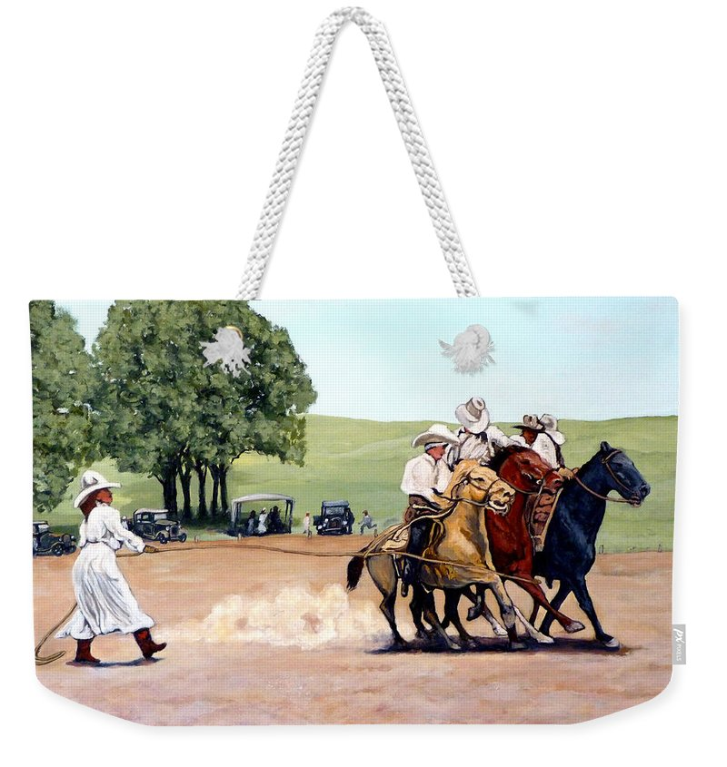 Bull Weekender Tote Bag featuring the painting Suzzi Q. Whirling The Rope by Tom Roderick