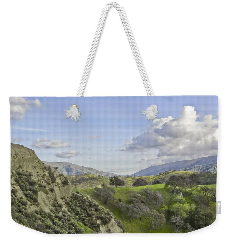 Landscape Weekender Tote Bag featuring the photograph Swallow Bay Cliffs by Karen W Meyer