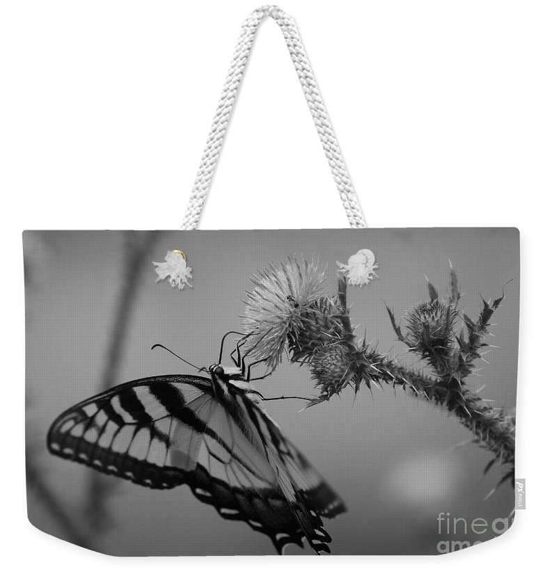 Swallowtail Weekender Tote Bag featuring the photograph Swallowtail Black And White by Todd Hostetter