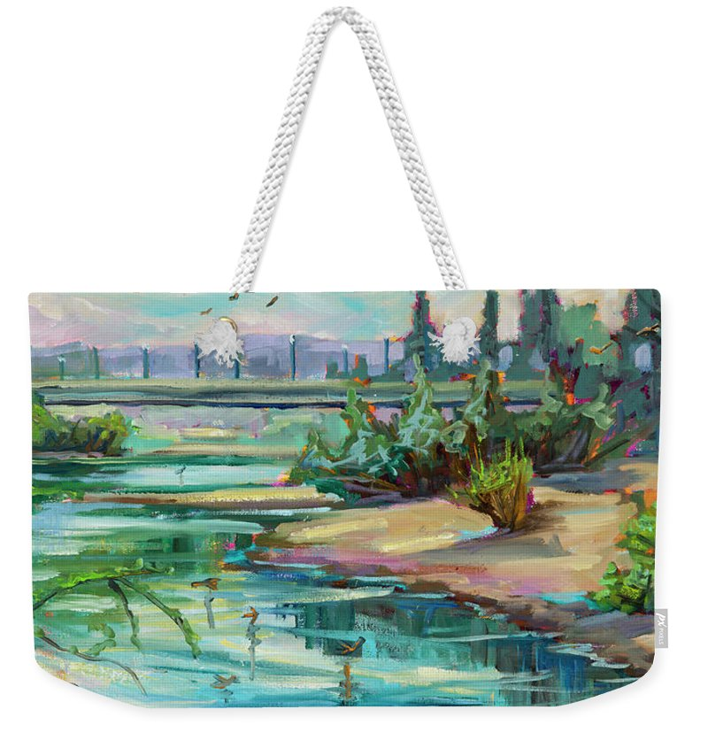 Swallows Weekender Tote Bag featuring the painting Swallowtail Riverside by Marie Massey