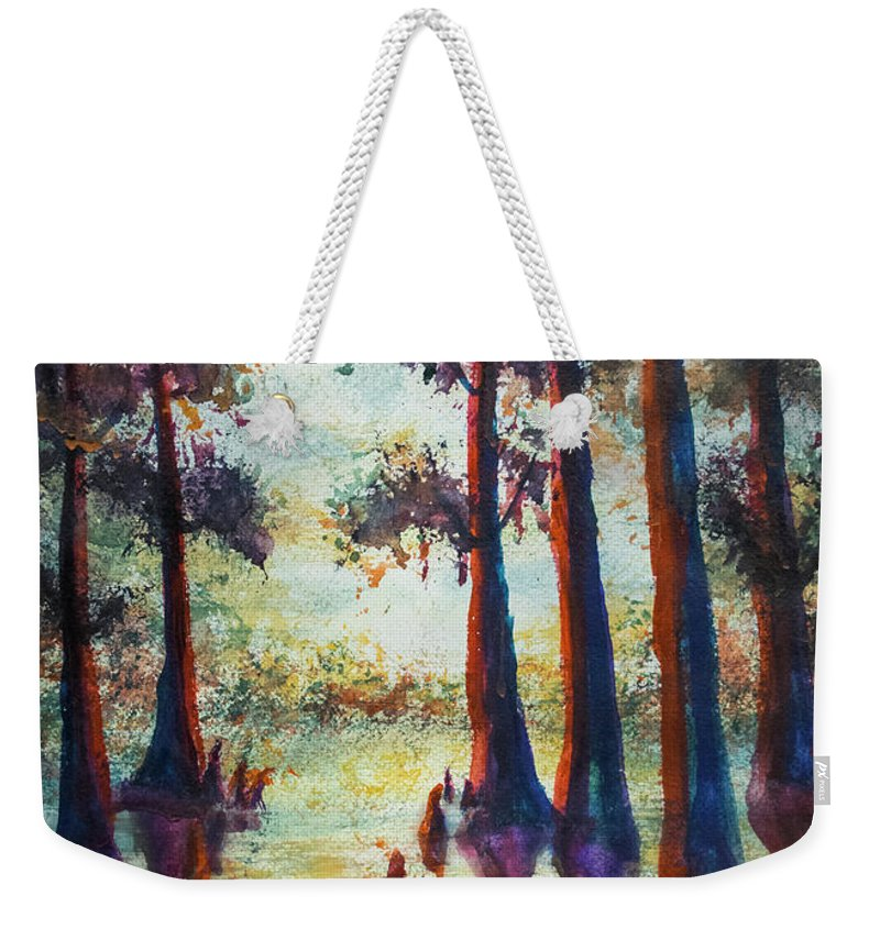 Landscape Weekender Tote Bag featuring the painting Swamplight by Francelle Theriot