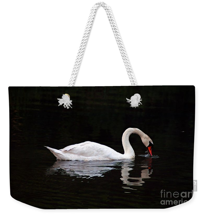 Clay Weekender Tote Bag featuring the photograph Swan Drinking by Clayton Bruster