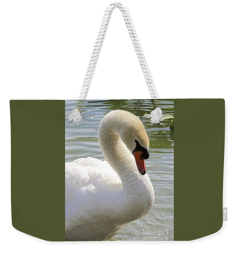 Elegant Weekender Tote Bag featuring the photograph Swan Elegance by Carol Groenen