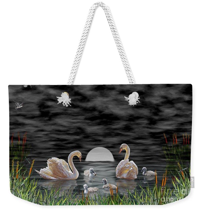 Swan Weekender Tote Bag featuring the digital art Swan Family by Terri Mills