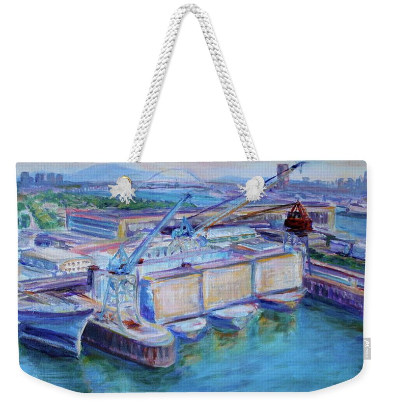 Shipping Weekender Tote Bag featuring the painting Swan Island Poetry - Large Original Contempory Impressionist Painting by Quin Sweetman