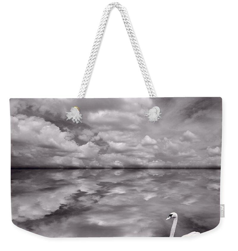 Bird Weekender Tote Bag featuring the photograph Swan Lake Explorations B W by Steve Gadomski