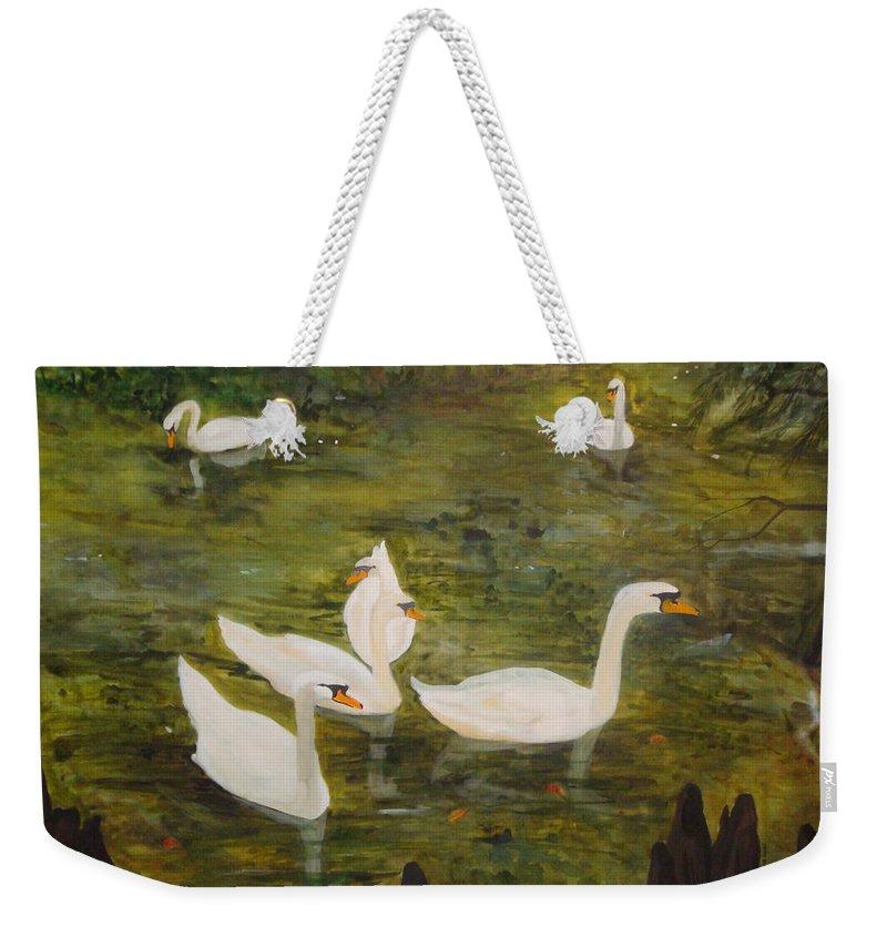Swan Weekender Tote Bag featuring the painting Swan Lake by Jean Blackmer