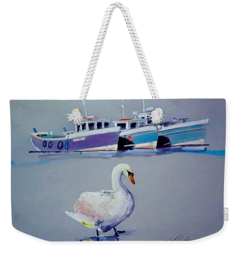 Swan Weekender Tote Bag featuring the painting Swan Lake With Pleasure Boats by Charles Stuart
