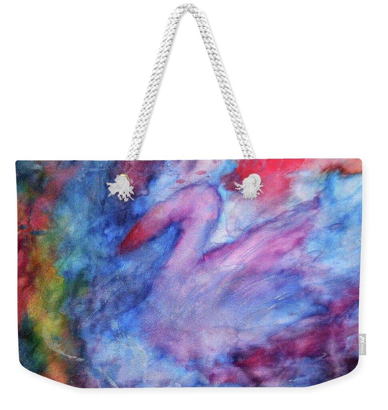 Swan Weekender Tote Bag featuring the painting Swan by Maja Smid