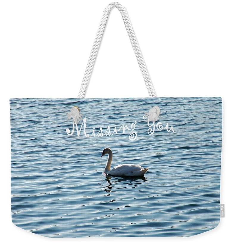 Swan Weekender Tote Bag featuring the photograph Swan Miss You by Aimee L Maher ALM GALLERY