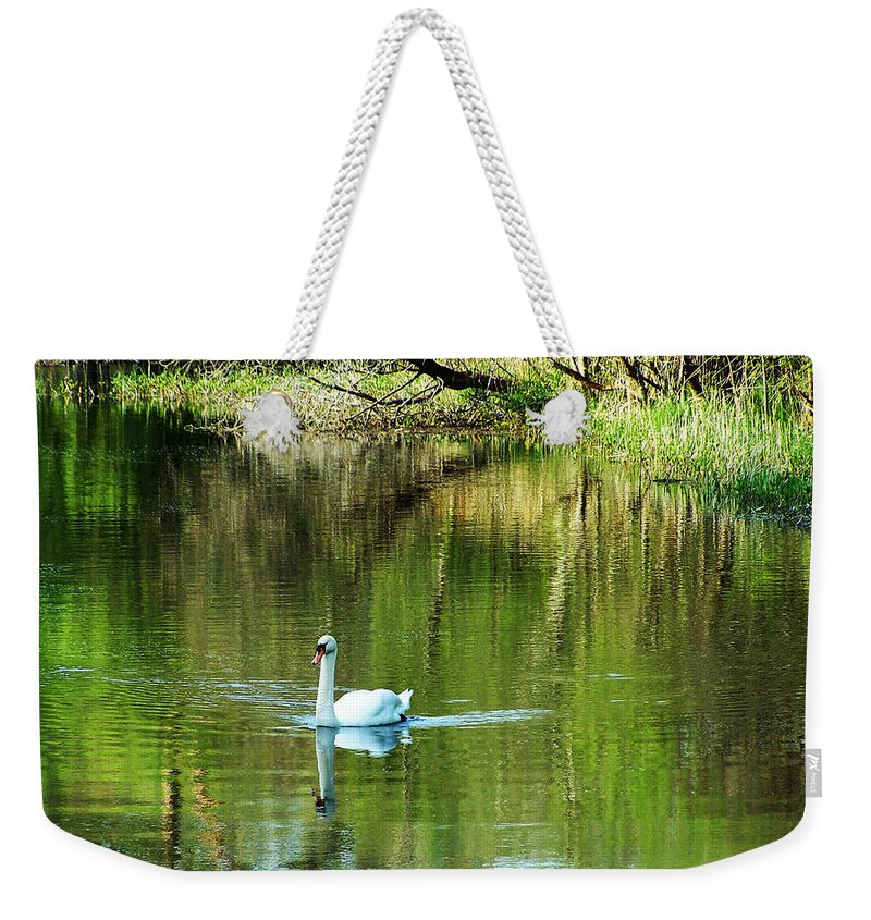 Irish Weekender Tote Bag featuring the photograph Swan On The Cong River Cong Ireland by Teresa Mucha