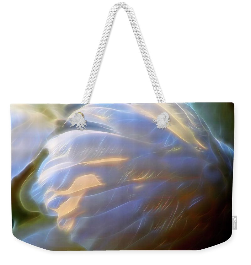 Swan Weekender Tote Bag featuring the digital art Swan Wing One by Mo Barton