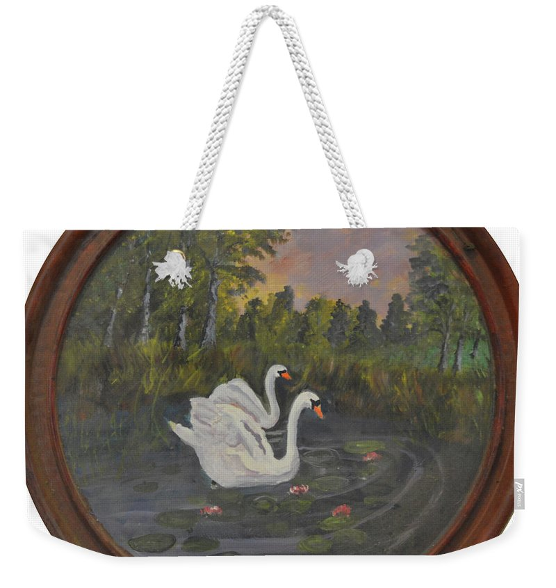 Swan Weekender Tote Bag featuring the painting Swans On Lake by Meandering Photography