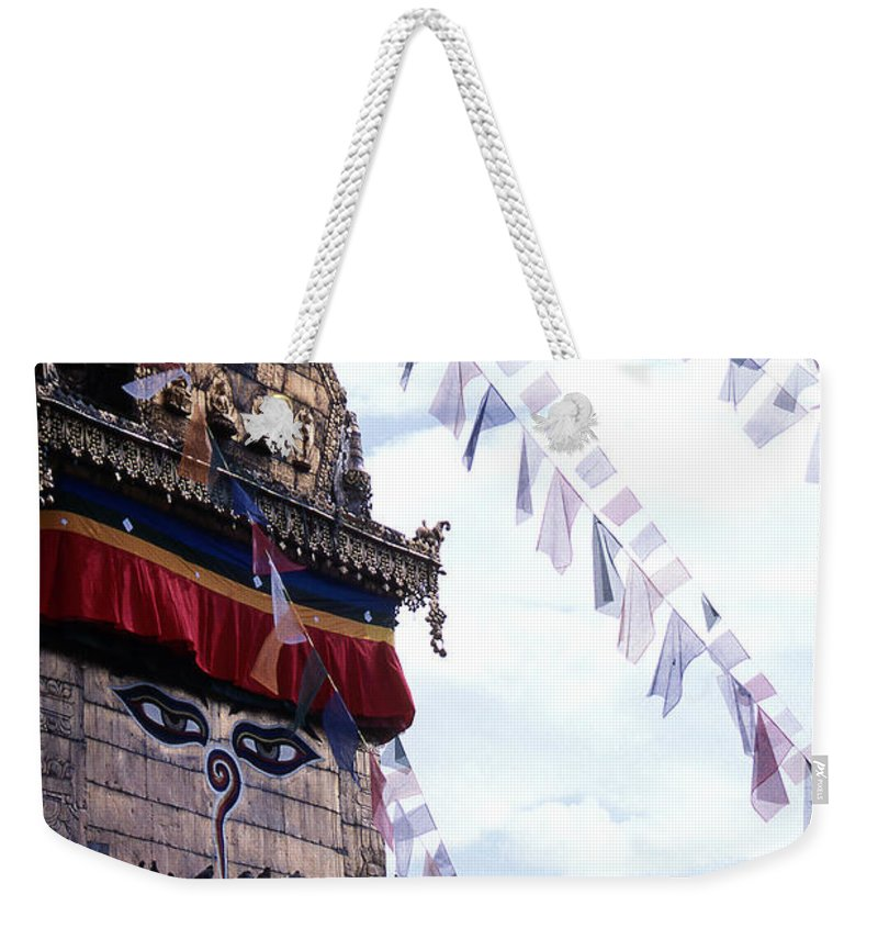 Swayambhunath Stupa Weekender Tote Bag featuring the photograph Swayambhunath II by Patrick Klauss