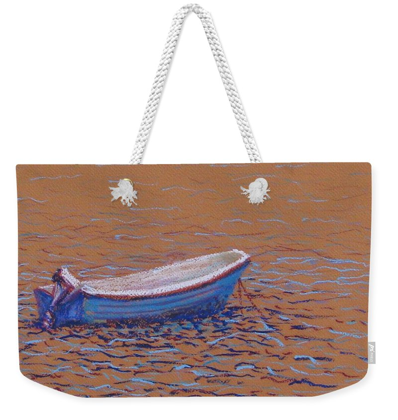 Boat Weekender Tote Bag featuring the pastel Swedish Boat by Art Nomad Sandra Hansen