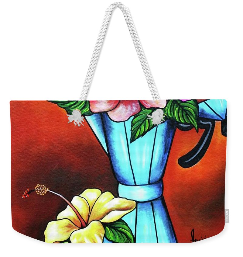 Cuban Coffee Weekender Tote Bag featuring the painting Sweet Aroma by Annie Maxwell