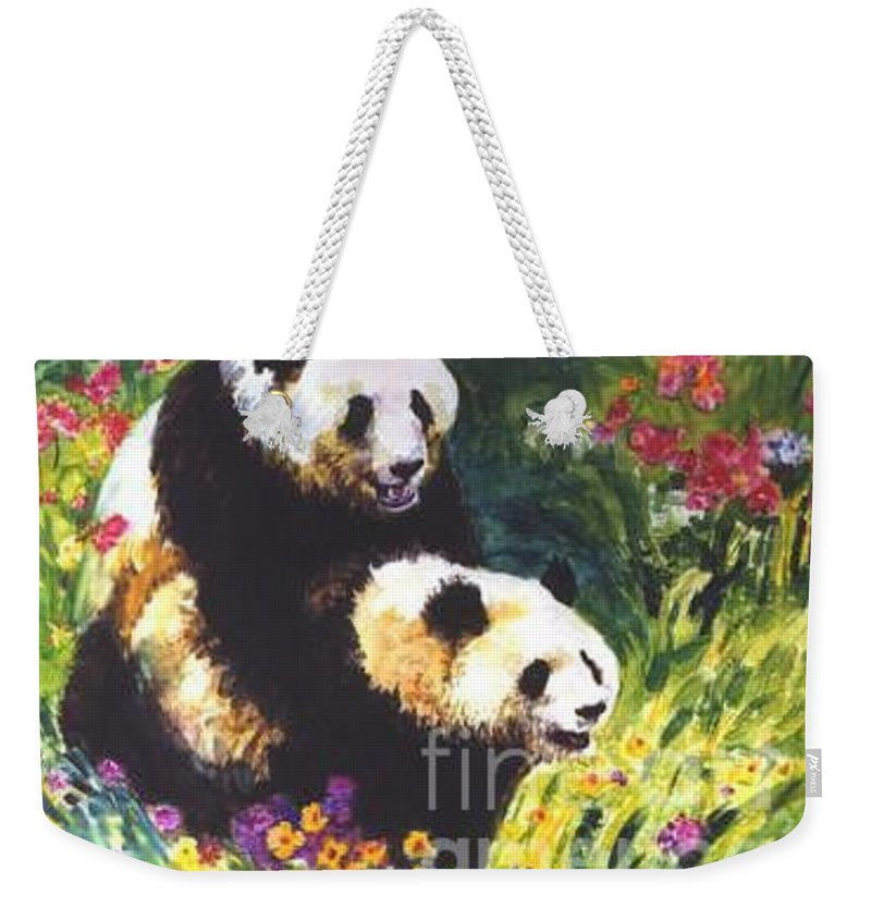 Panda Weekender Tote Bag featuring the painting Sweet As Honey by Guanyu Shi