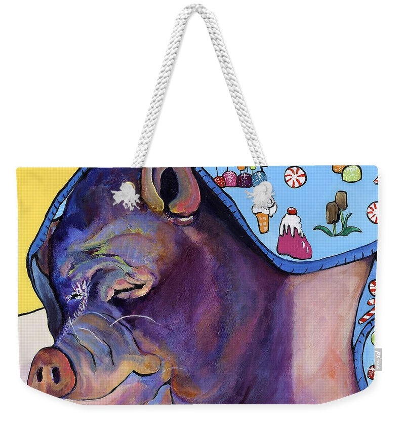 Farm Animal Weekender Tote Bag featuring the painting Sweet Dreams by Pat Saunders-White