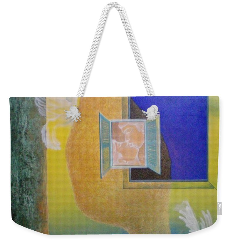 Romantic Weekender Tote Bag featuring the painting Sweet Home by Raju Bose