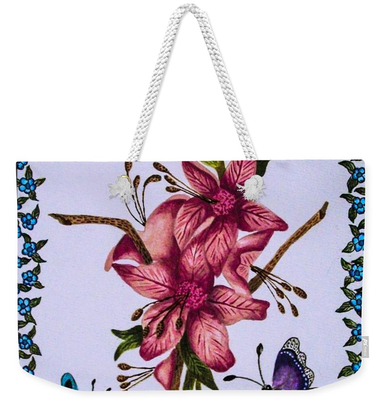 Flowers. Butterflies. Nature. Floral . Design. Weekender Tote Bag featuring the painting Sweet Nectar by Dawn Siegler