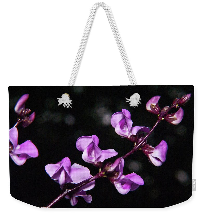 Sweet Weekender Tote Bag featuring the photograph Sweet Pea Delight by Douglas Barnett