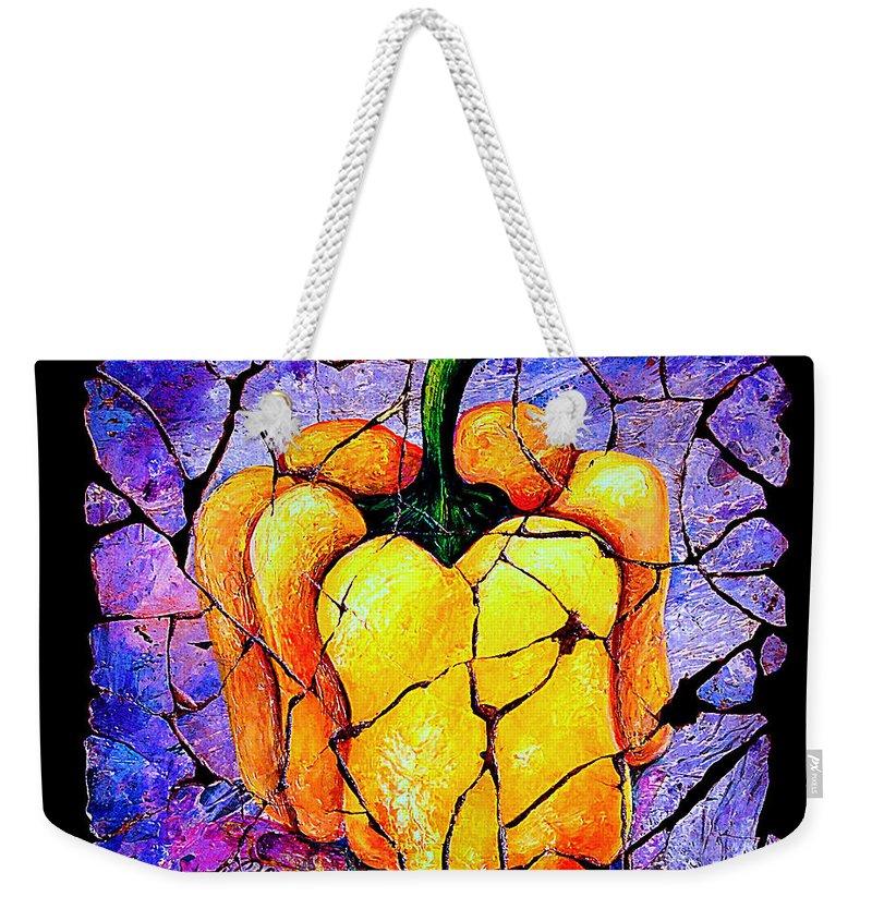 Sweet Pepper Fresco Antique Weekender Tote Bag featuring the painting Sweet Pepper by OLena Art Lena Owens